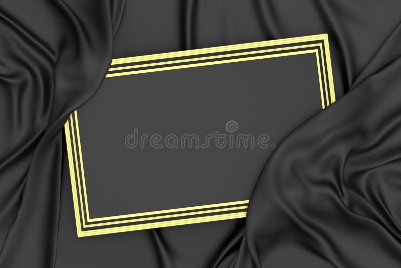 Schwarzes der Wiedergabe 3d und Goldrahmen und -drapierung lizenzfreie abbildung