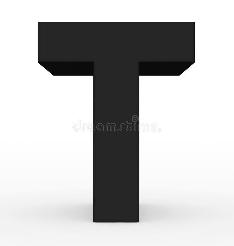 Schwarzes des Buchstaben T 3d lokalisiert auf Weiß vektor abbildung