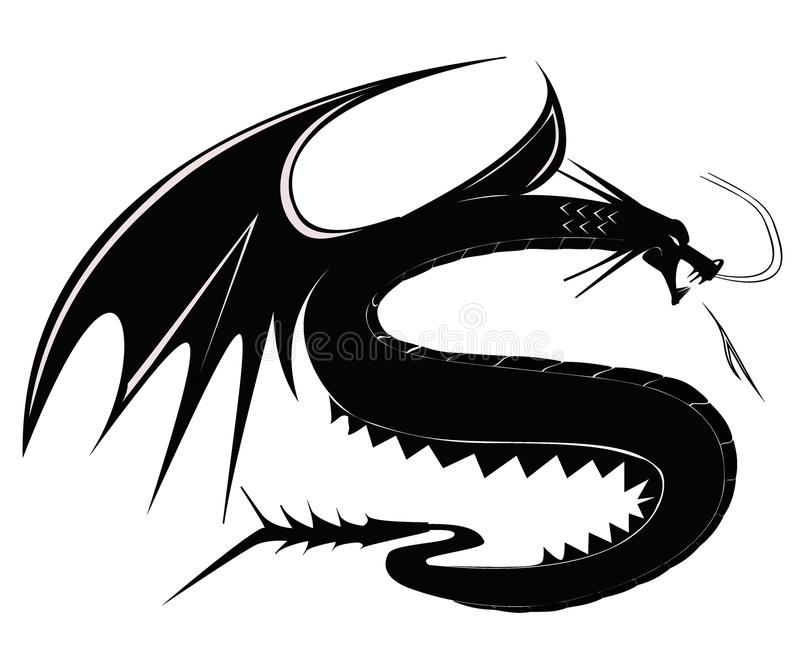 Schwarzes Drache tatto vektor abbildung
