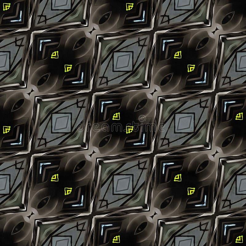 Schwarzes dunkles geometrisches nahtloses Muster Ikat lizenzfreie abbildung