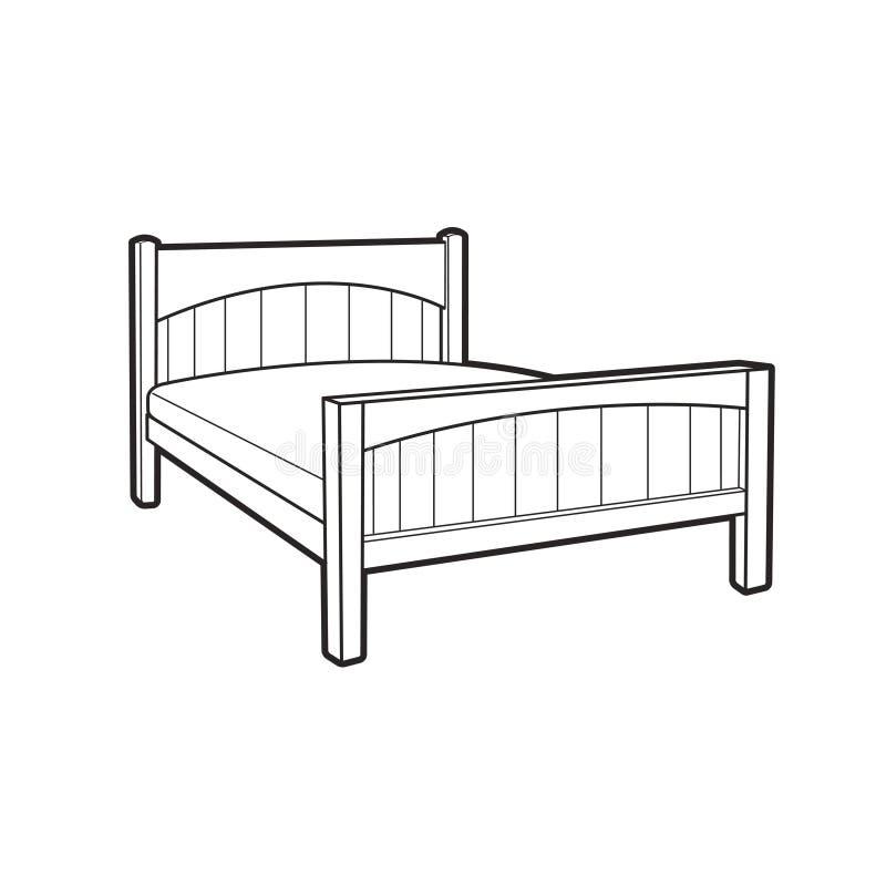 Schwarzes Entwurfsbett lokalisiert auf Weiß stock abbildung