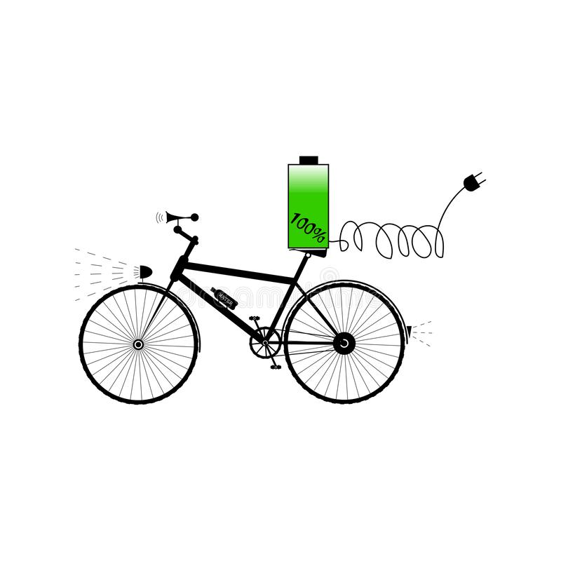 Schwarzes Fahrrad mit Batterie, solidem Horn und elektrischem Stecker - Vektorillustration stock abbildung