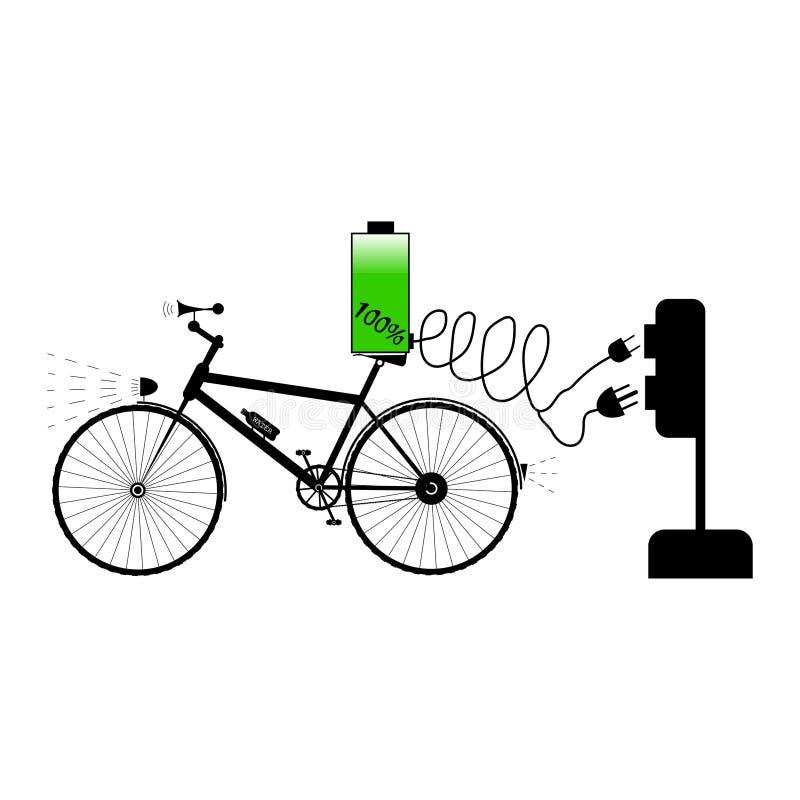 Schwarzes Fahrrad mit zwei Art unterschiedliches elektrisches Stecker- und Ausrüstungsladegerät - Vektorillustration lizenzfreie abbildung