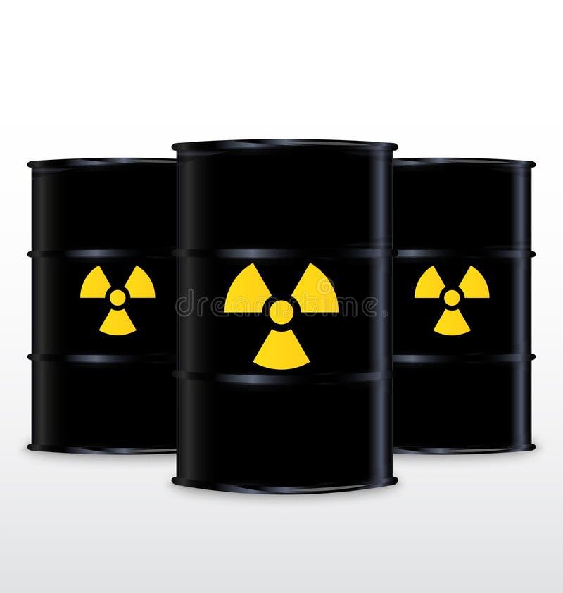 Schwarzes Fass mit gelbem radioaktivem Symbol vektor abbildung