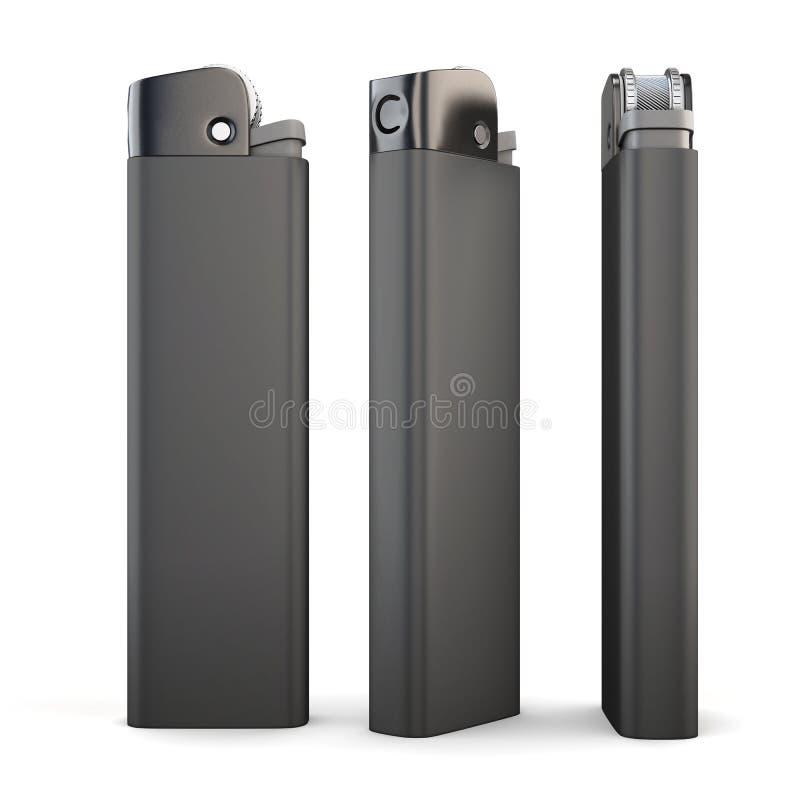 Schwarzes Feuerzeug drei auf weißem Hintergrund Wiedergabe 3d stock abbildung