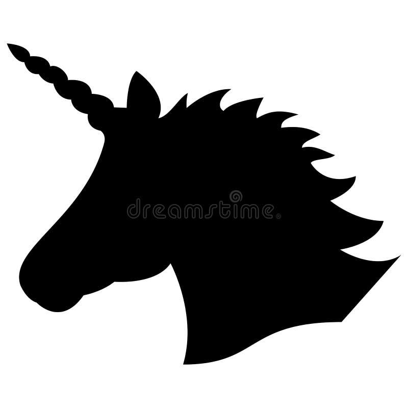 Schwarzes Formschattenbild des magischen Einhorns auf dem weißen Hintergrund lizenzfreie abbildung