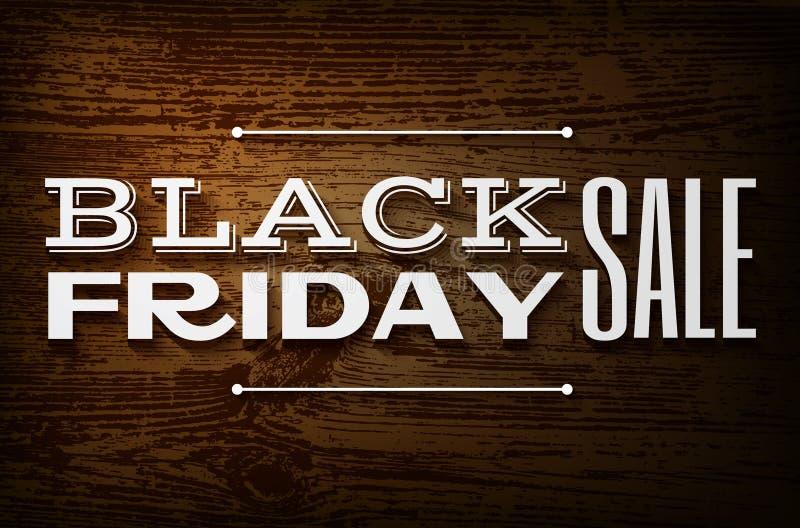 Schwarzes Freitag-Design auf hölzernem Hintergrund des Vektors lizenzfreie abbildung
