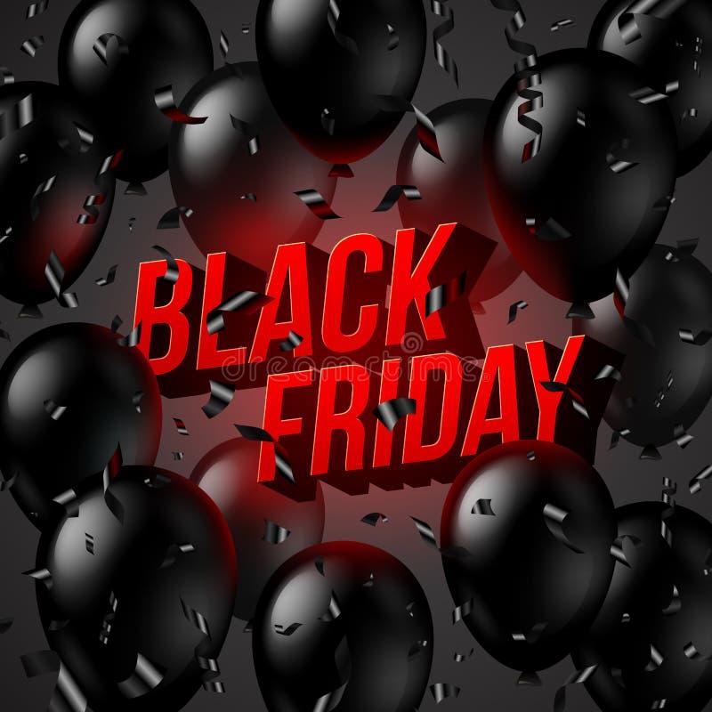 Schwarzes Freitag-Verkaufsdesign, Illustration mit schwarzen Ballonen, Konfettis und rote leuchtende dreidimensionale Buchstaben lizenzfreie abbildung
