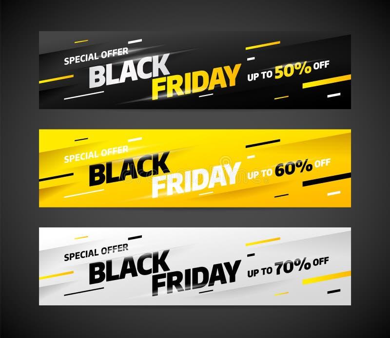 Schwarzes Freitag-Verkaufsfahnen-Schablonendesign Auch im corel abgehobenen Betrag