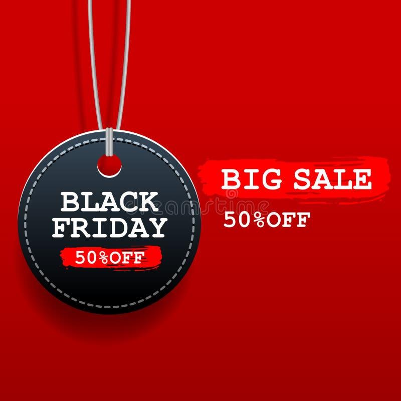 Schwarzes Freitag-Verkaufsrundentag mit Rabatt auf rotem Hintergrund lizenzfreie abbildung