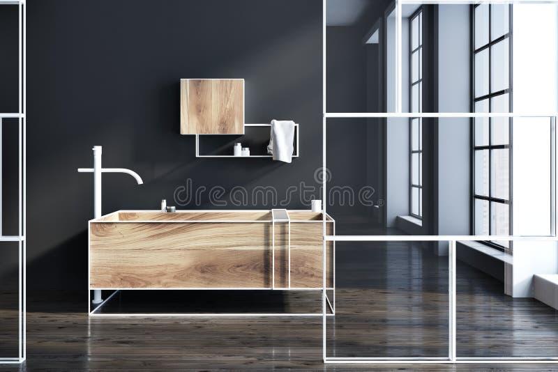 Schwarzes futuristisches Badezimmerglas und -holz lizenzfreie abbildung