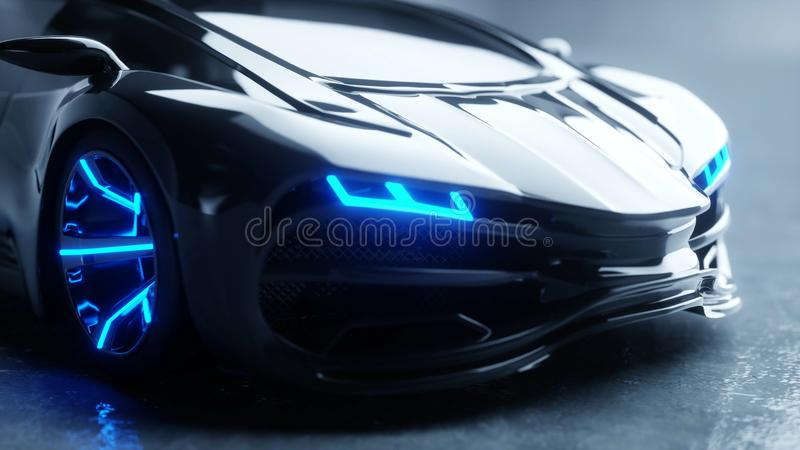 Schwarzes futuristisches Elektroauto mit Blaulicht Konzept von Zukunft Wiedergabe 3d lizenzfreie abbildung