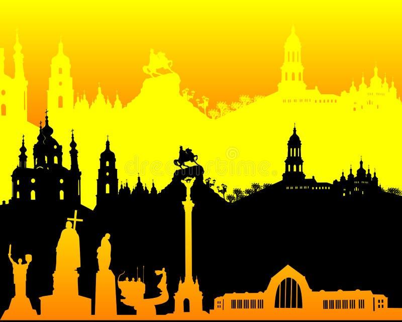 Schwarzes gelb-orangees Schattenbild von Kiew stock abbildung