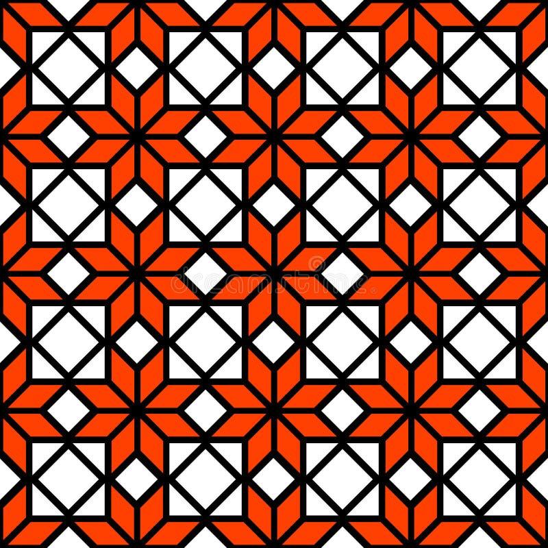 Schwarzes geometrisches nahtloses Muster der weißen und orange einfachen Sternform, Vektor vektor abbildung