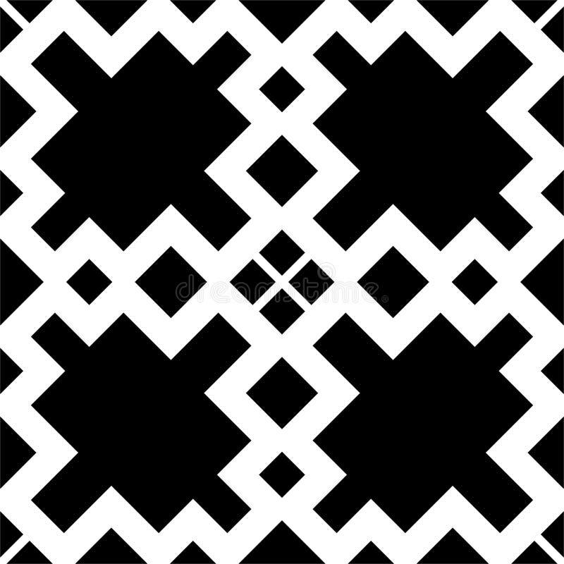 Schwarzes GEOMETRISCHES nahtloses Muster im weißen Hintergrund vektor abbildung