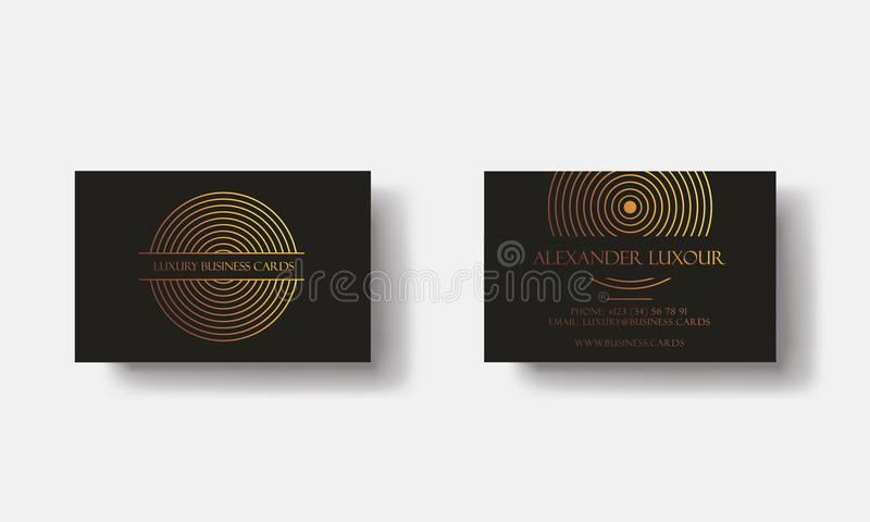 Schwarzes Goldluxusvisitenkarten für Promi-Ereignis Elegante Gruß-Karte mit geometrischem Muster des goldenen Kreises Fahne oder stock abbildung