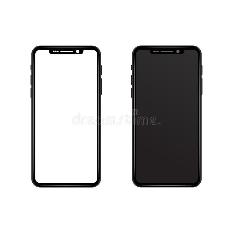 Schwarzes graues dünnes Telefon mit weißem und schwarzem wallpape des leeren Bildschirms vektor abbildung