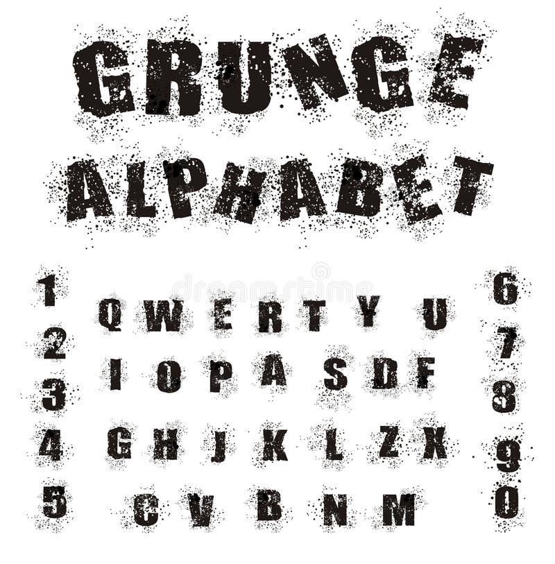 Schwarzes Grunge Alphabet stock abbildung