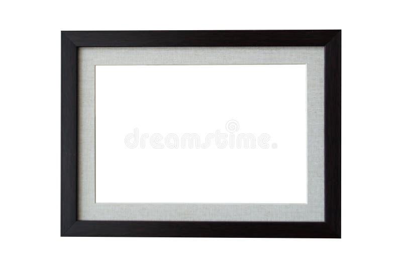 Schwarzes hölzernes Rahmenisolat auf weißem Hintergrund stockbild