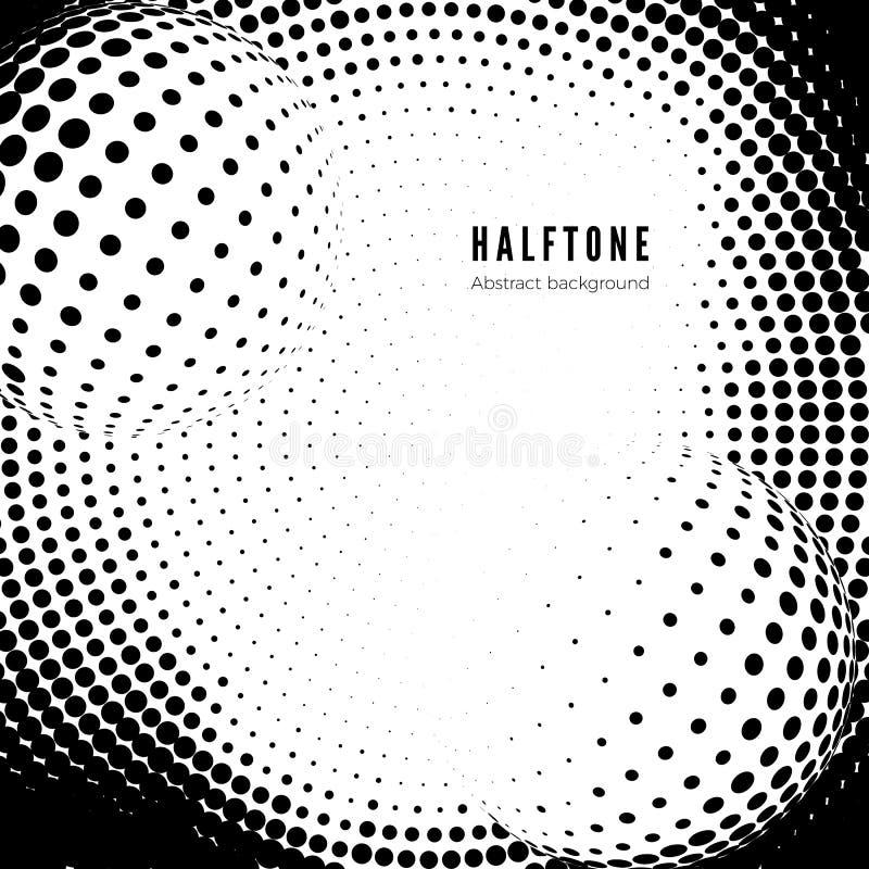 Schwarzes Halbtonmuster auf weißem Hintergrund Halbtonbeschaffenheit Auch im corel abgehobenen Betrag stock abbildung