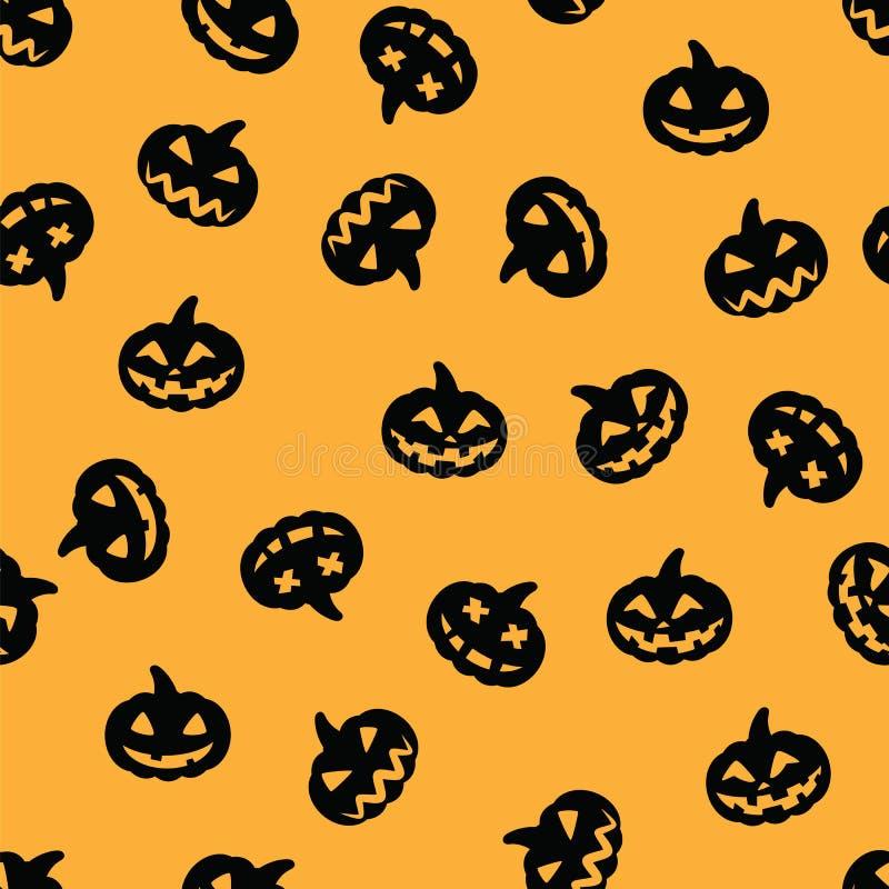 Schwarzes Halloween-Kürbismuster auf orange Hintergrund Halloween stellen nahtloses Muster des schwarzen Kürbises gegenüber vektor abbildung