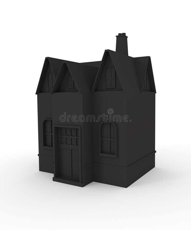 Schwarzes Haus der Ikone 3D 3d übertragen stock abbildung