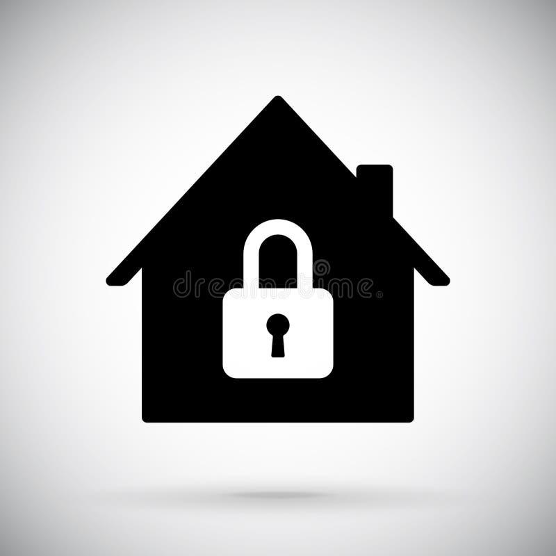 Schwarzes Haus Symbol für geschlossenes Konto stock abbildung