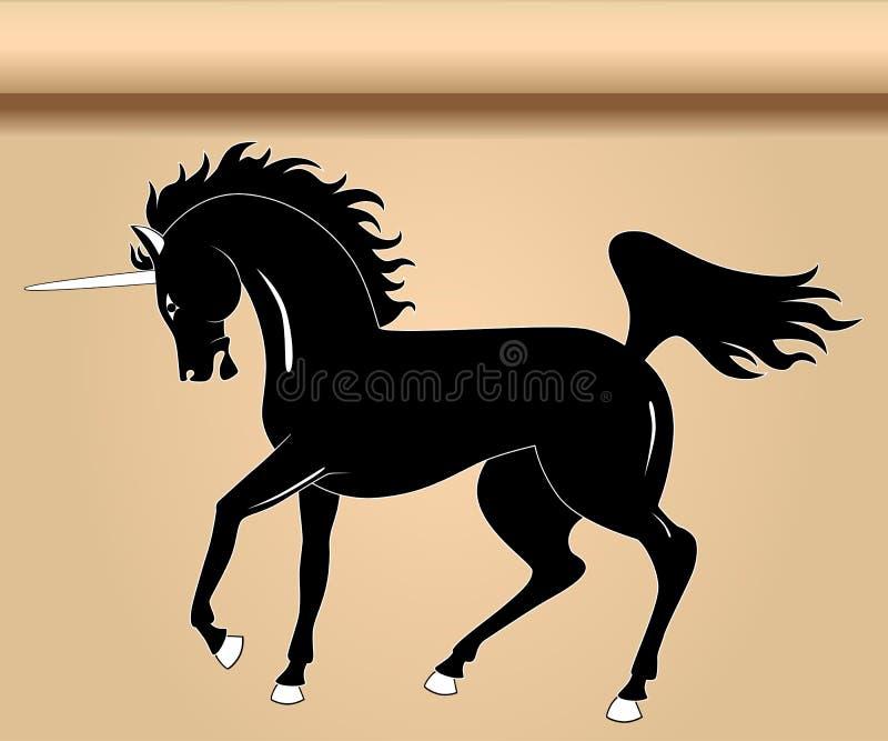 Schwarzes heraldisches Einhorn lizenzfreie abbildung
