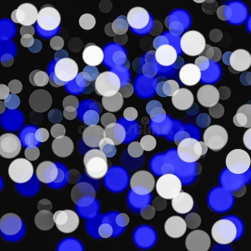 Schwarzes Hintergrund, weißes und Blaues bokeh mit bokeh Kreis lizenzfreie abbildung