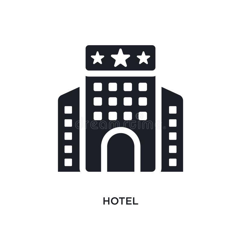 schwarzes Hotel lokalisierte Vektorikone einfache Elementillustration von den Konzeptvektorikonen Logo-Symbolentwurf des Hotels e stock abbildung