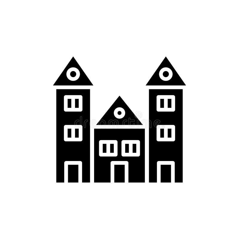 Schwarzes Ikonenkonzept der Bildungseinrichtung Flaches Vektorsymbol der Bildungseinrichtung, Zeichen, Illustration lizenzfreie abbildung
