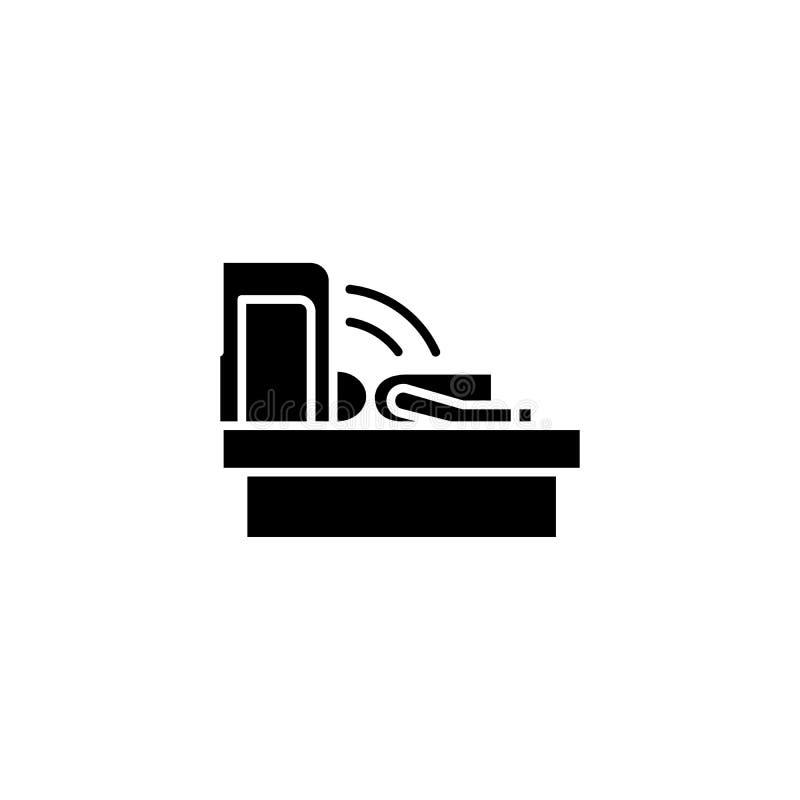 Schwarzes Ikonenkonzept der Tomographie Flaches Vektorsymbol der Tomographie, Zeichen, Illustration stock abbildung