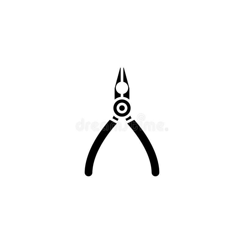 Schwarzes Ikonenkonzept der Zangen Flaches Vektorsymbol der Zangen, Zeichen, Illustration stock abbildung