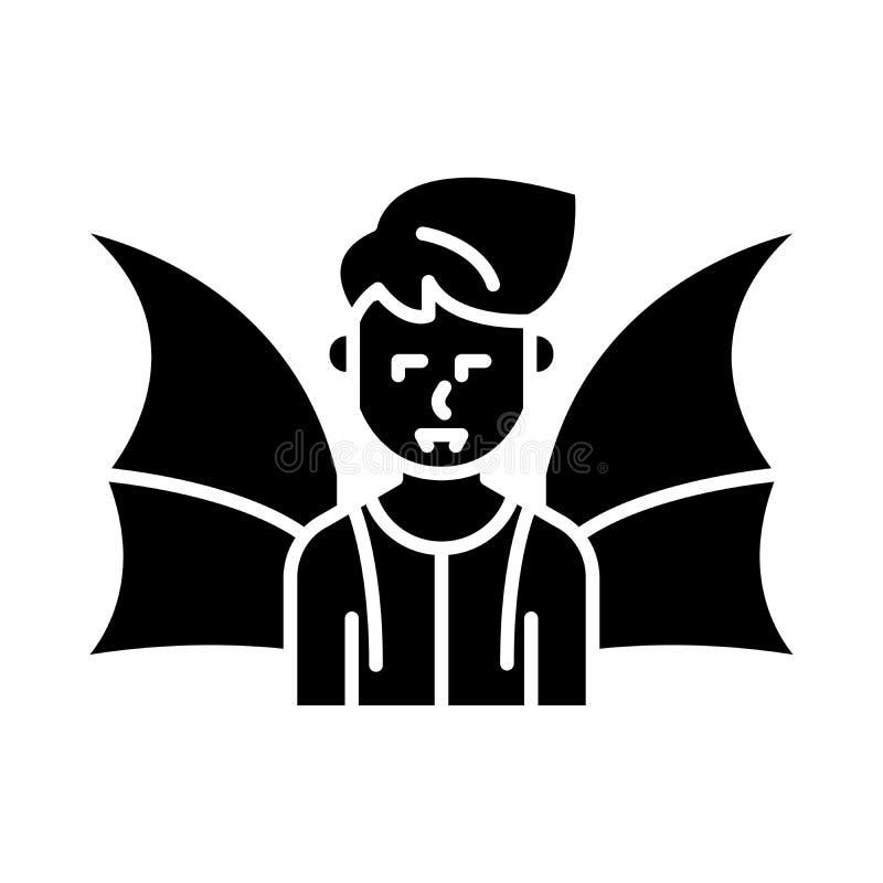 Schwarzes Ikonenkonzept des Dämons Flaches Vektorsymbol des Dämons, Zeichen, Illustration lizenzfreie abbildung