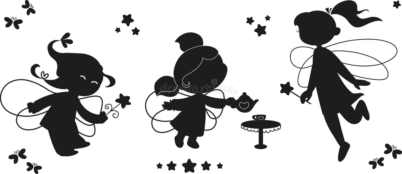 Download Schwarzes Ikonenset Feen vektor abbildung. Illustration von mädchen - 26662984