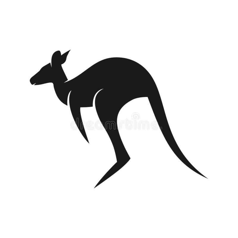 Schwarzes Kängurulogo stock abbildung