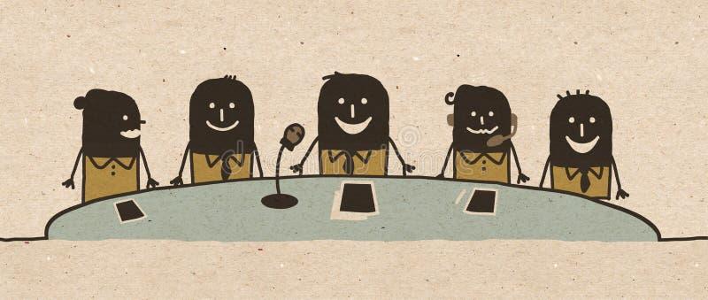Schwarzes Karikatur Konferenz-Team stock abbildung