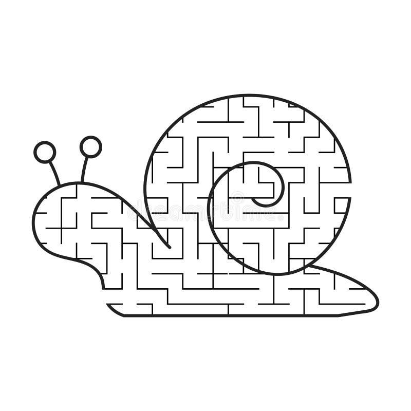 Schwarzes Labyrinth ist eine nette Schnecke Scherzt Arbeitsblätter Tätigkeitsseite Spielpuzzlespiel für Kinder Lustige Muschel La lizenzfreie abbildung