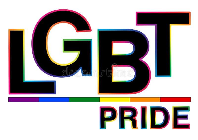 Schwarzes LGBT-Stolzwort mit buntem Anschlag vektor abbildung
