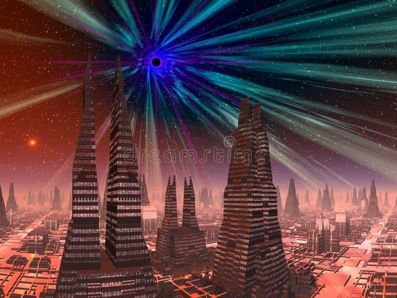 Schwarzes Loch über futuristischer Stadt lizenzfreie abbildung