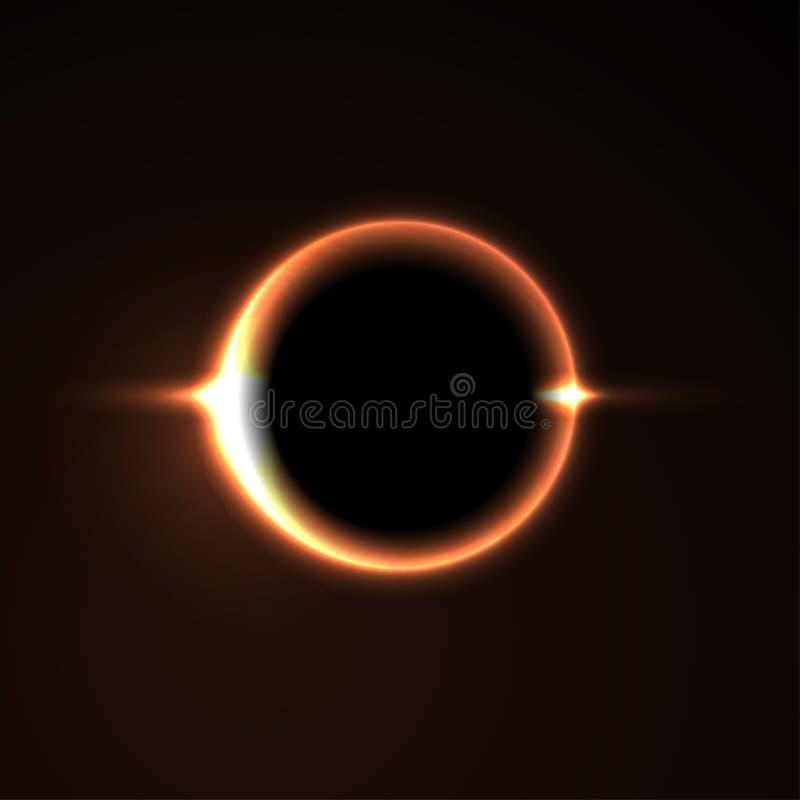 Schwarzes Loch Abbildung auf schwarzem Hintergrund für Auslegung leuchte Auch im corel abgehobenen Betrag stock abbildung