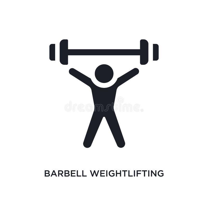 schwarzes lokalisierte Vektorikone des Barbell Gewichtheben einfache Elementillustration von den Turnhallen- und Eignungskonzeptv stock abbildung