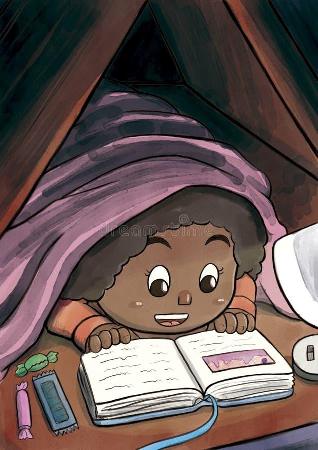 Schwarzes Mädchen, das unter der umfassenden Lesung ein Bilderbuch versteckt vektor abbildung
