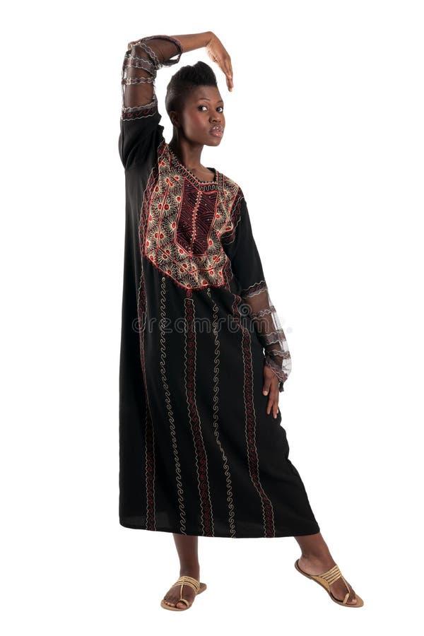 Schwarzes Mädchen mit der ausgestreckten Hand stockbild