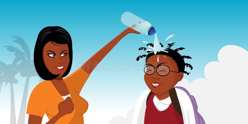 Schwarzes Mädchenkämpfen lizenzfreie abbildung