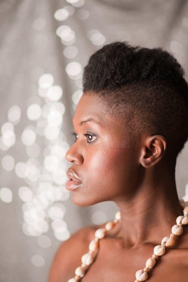 Schwarzes Mädchenprofilportrait lizenzfreie stockfotos