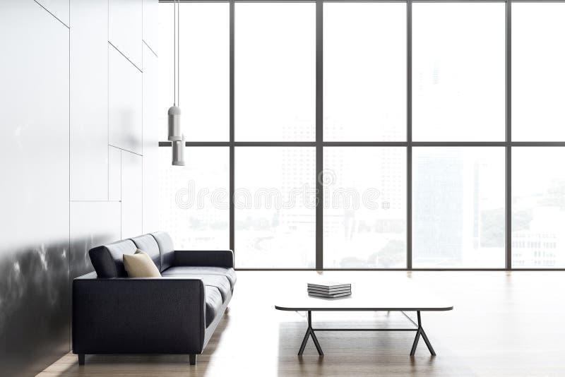 Schwarzes Marmorwohnzimmer, schwarzes Sofa vektor abbildung