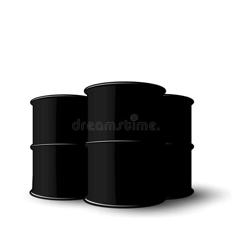 Schwarzes Metall drei von den Ölbarreln lokalisiert auf weißem Hintergrund vektor abbildung