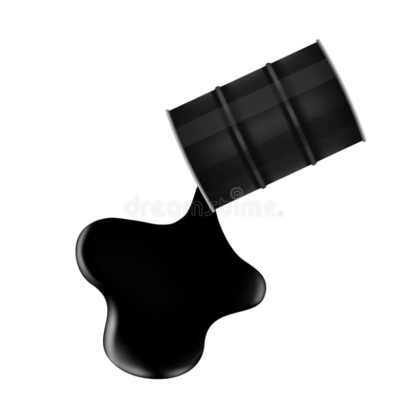 Schwarzes Metallfaß und der Rohölrückgang und -fleck, die auf weißem Hintergrund, Rohöl lokalisiert wird, ist gegossen und d lizenzfreie abbildung