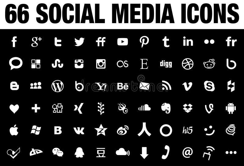 Schwarzes mit 66 Social Media-Ikonen lizenzfreie abbildung